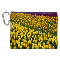 Colorful Tulips In Keukenhof Gardens Wallpaper Canvas Cosmetic Bag (XXL)