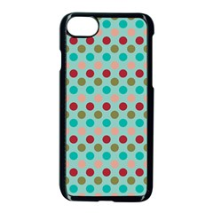 Large Colored Polka Dots Line Circle Apple Iphone 7 Seamless Case (black)