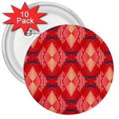 Orange Fractal Background 3  Buttons (10 Pack)