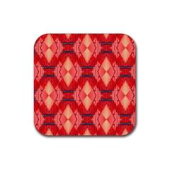 Orange Fractal Background Rubber Coaster (square)