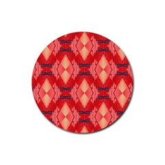 Orange Fractal Background Rubber Coaster (round)