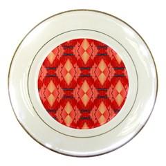 Orange Fractal Background Porcelain Plates