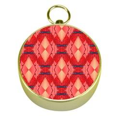 Orange Fractal Background Gold Compasses