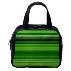 Horizontal Stripes Line Green Classic Handbags (one Side)