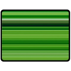 Horizontal Stripes Line Green Double Sided Fleece Blanket (large)
