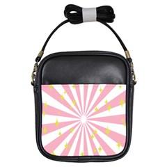 Hurak Pink Star Yellow Hole Sunlight Light Girls Sling Bags