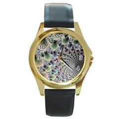 Beautiful Image Fractal Vortex Round Gold Metal Watch