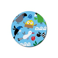 New Zealand Birds Close Fly Animals Rubber Coaster (round)