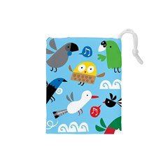 New Zealand Birds Close Fly Animals Drawstring Pouches (small)