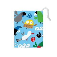 New Zealand Birds Close Fly Animals Drawstring Pouches (medium)