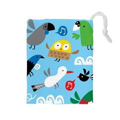 New Zealand Birds Close Fly Animals Drawstring Pouches (large)