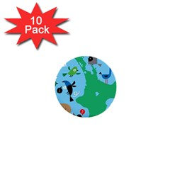 New Zealand Birds Detail Animals Fly 1  Mini Buttons (10 Pack)