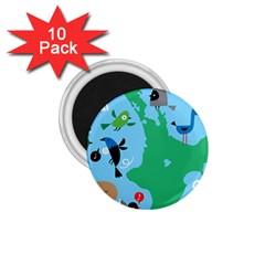 New Zealand Birds Detail Animals Fly 1 75  Magnets (10 Pack)