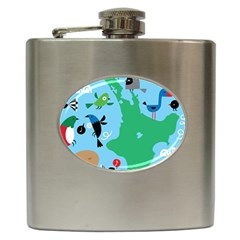 New Zealand Birds Detail Animals Fly Hip Flask (6 Oz)