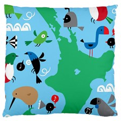 New Zealand Birds Detail Animals Fly Large Cushion Case (two Sides)