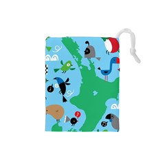 New Zealand Birds Detail Animals Fly Drawstring Pouches (small)