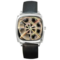 Background With Fractal Crazy Wheel Square Metal Watch