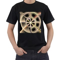 Background With Fractal Crazy Wheel Men s T-Shirt (Black) (Two Sided)