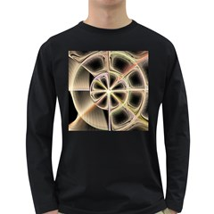 Background With Fractal Crazy Wheel Long Sleeve Dark T-Shirts