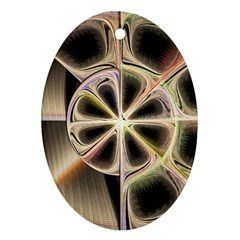 Background With Fractal Crazy Wheel Oval Ornament (two Sides)