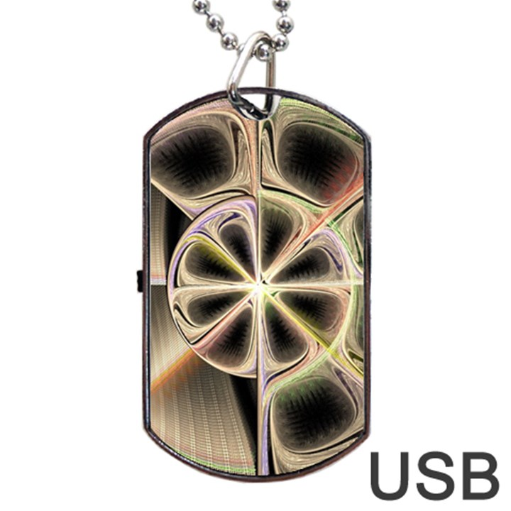 Background With Fractal Crazy Wheel Dog Tag USB Flash (Two Sides)