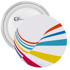 Line Rainbow Orange Blue Yellow Red Pink White Wave Waves 3  Buttons