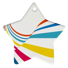 Line Rainbow Orange Blue Yellow Red Pink White Wave Waves Ornament (star)