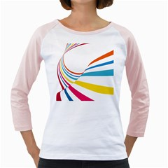 Line Rainbow Orange Blue Yellow Red Pink White Wave Waves Girly Raglans