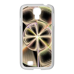 Background With Fractal Crazy Wheel Samsung GALAXY S4 I9500/ I9505 Case (White)