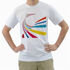 Line Rainbow Orange Blue Yellow Red Pink White Wave Waves Men s T Shirt (white) (two Sided)