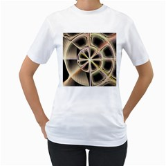 Background With Fractal Crazy Wheel Women s T-Shirt (White)