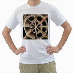Background With Fractal Crazy Wheel Men s T-Shirt (White)