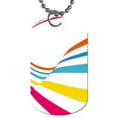 Line Rainbow Orange Blue Yellow Red Pink White Wave Waves Dog Tag (one Side)