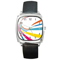 Line Rainbow Orange Blue Yellow Red Pink White Wave Waves Square Metal Watch