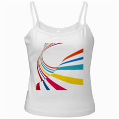 Line Rainbow Orange Blue Yellow Red Pink White Wave Waves Ladies Camisoles