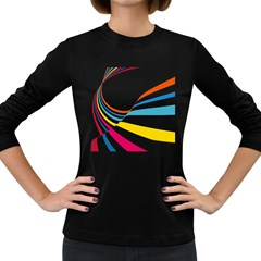 Line Rainbow Orange Blue Yellow Red Pink White Wave Waves Women s Long Sleeve Dark T Shirts