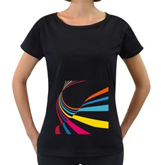 Line Rainbow Orange Blue Yellow Red Pink White Wave Waves Women s Loose Fit T Shirt (black)
