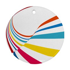 Line Rainbow Orange Blue Yellow Red Pink White Wave Waves Round Ornament (two Sides)