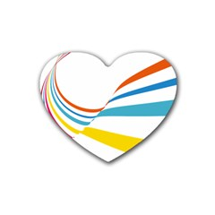 Line Rainbow Orange Blue Yellow Red Pink White Wave Waves Heart Coaster (4 Pack)