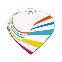 Line Rainbow Orange Blue Yellow Red Pink White Wave Waves Dog Tag Heart (one Side)