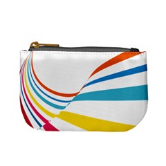 Line Rainbow Orange Blue Yellow Red Pink White Wave Waves Mini Coin Purses