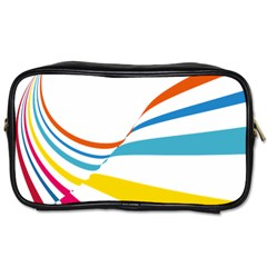 Line Rainbow Orange Blue Yellow Red Pink White Wave Waves Toiletries Bags 2 Side