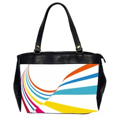 Line Rainbow Orange Blue Yellow Red Pink White Wave Waves Office Handbags (2 Sides)