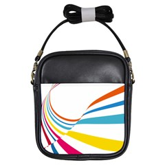 Line Rainbow Orange Blue Yellow Red Pink White Wave Waves Girls Sling Bags