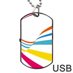 Line Rainbow Orange Blue Yellow Red Pink White Wave Waves Dog Tag Usb Flash (two Sides)