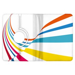 Line Rainbow Orange Blue Yellow Red Pink White Wave Waves Kindle Fire Hdx Flip 360 Case
