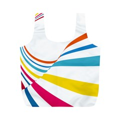 Line Rainbow Orange Blue Yellow Red Pink White Wave Waves Full Print Recycle Bags (m)
