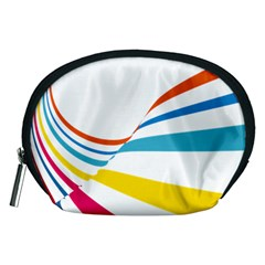 Line Rainbow Orange Blue Yellow Red Pink White Wave Waves Accessory Pouches (medium)