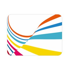 Line Rainbow Orange Blue Yellow Red Pink White Wave Waves Double Sided Flano Blanket (mini)