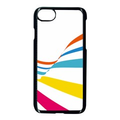 Line Rainbow Orange Blue Yellow Red Pink White Wave Waves Apple Iphone 7 Seamless Case (black)